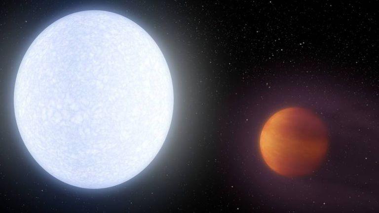Ilustração da estrela Kelt-9 e seu planeta