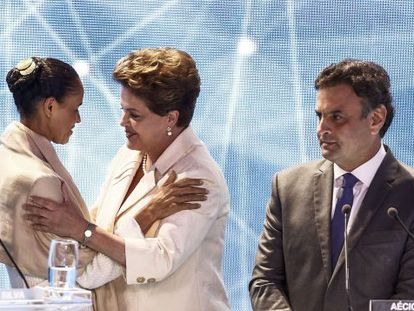 Marina e Dilma, no primeiro debate eleitoral.