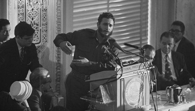 Fidel Castro durante sua visita a Nova York em 1959