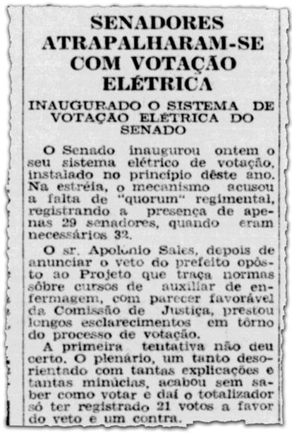 Jornal Tribuna da Imprensa noticia dificuldades dos senadores com o novo sistema elétrico de votação em 1958