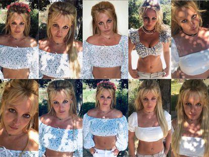 As diferentes imagens que Britney publicou em vários dias na sua conta do Instagram, frequentemente com a mesma roupa, a mesma pose e a mesma localização.