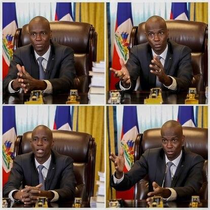 O presidente do Haiti, Jovenel Moïse, durante a conversa com o EL PAÍS por videochamada.