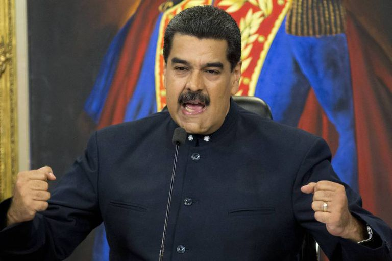 O presidente venezuelano, Nicolás Maduro, durante uma entrevista coletiva.