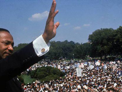 Martin Luther King, no Monumento a Lincoln em Washington