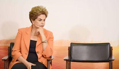 A presidenta Dilma em evento no Palácio do Planalto.