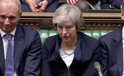 A primeira-ministra Theresa May depois de perder a votação do Brexit na terça-feira.