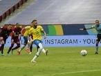 Soccer Football - Copa America 2021 - Group A - Brazil v Venezuela - Estadio Mane Garrincha, Brasilia, Brazil - June 13, 2021 Brazil's Neymar scores their second goal from the penalty spot REUTERS/Henry Romero
