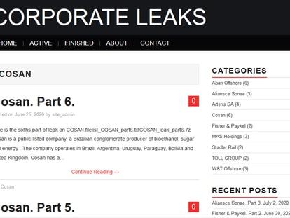 Captura da página Corporate Leaks com anúncio de dados vazados da Cosan.