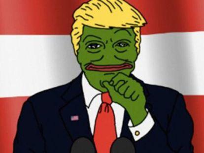 Um dos memes que relacionava a rana Pepe (símbolo da direita racista) com Donald Trump