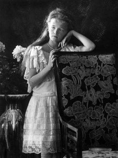 Retrato de Anastásia, a filha caçula do czar russo Nicolau II.