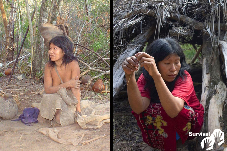 Nguiejna Etacoro no dia em que foi contatada em 2004 (à esquerda) e em 2007 já sofria de uma doença semelhante à tuberculose  (à direita). Agora ela está gravemente doente.