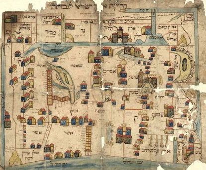 Mapa das fronteiras e divisas de territórios bíblicos das tribos de Israel, feito por um anônimo (século XIX).