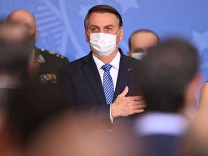 O presidente Jair Bolsonaro em cerimônia de nomeação de Ciro Nogueira como ministro-chefe da Casa Civil, quarta-feira em Brasília.