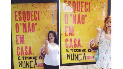 Anúncio da Skol e a intervenção de Mila Alves e Pri Ferrari. A foto teve mais de 8.000 curtidas no Facebook.