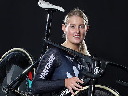 A ciclista Olivia Podmore em 2017.