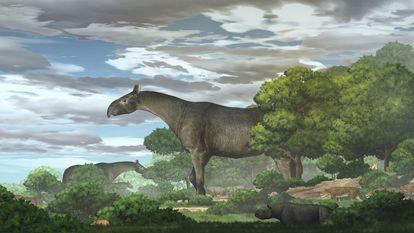 Interpretação artística do rinoceronte gigante (Paraceratherium linxiaense) realizada pela Academia de Ciências da China.