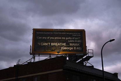 Um outdoor em homenagem a George Floyd, em Minneapolis.
