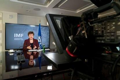 A diretora-gerente do FMI, Kristalina Georgieva, pouco antes da entrevista.