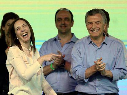 Maria Eugenia Vidal, governadora da província de Buenos Aires e o presidente Mauricio Macri