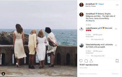 """O comentário de Donald Tusk no Instagram sobre quatro primeiras-damas: """"O lado leve da Força""""."""