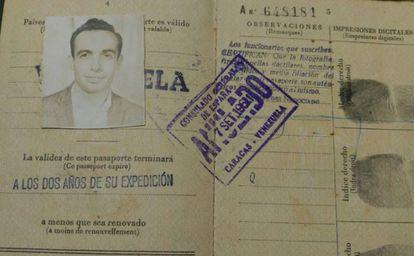 O passaporte espanhol de Ernesto quando migrou para a Venezuela, aos 23 anos, a bordo do barco 'Lucania'.
