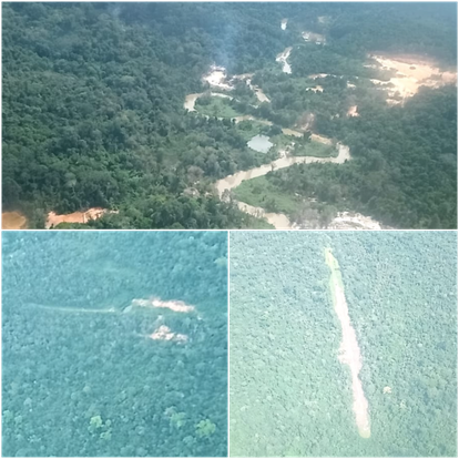 Os garimpos mais próximos aos Moxihatëtëma incluem pista de pouso clandestina e devastação da floresta.