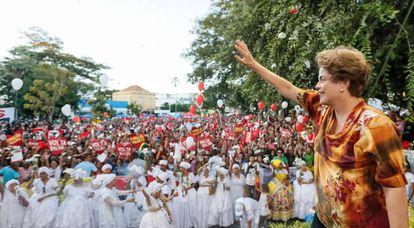 Dilma em ato em Teresina, na sexta 15.