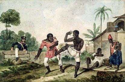 Pintura retrata escravos sendo perseguidos pelas autoridades.