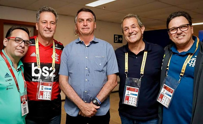 Diretoria do Flamengo em encontro com o presidente Jair Bolsonaro.