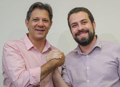 Fernando Haddad (PT) e Guilherme Boulos (PSOL) nas eleições para presidente, em 2018.