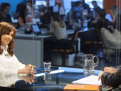 Cristina Kirchner e o jornalista Luis Novaresio