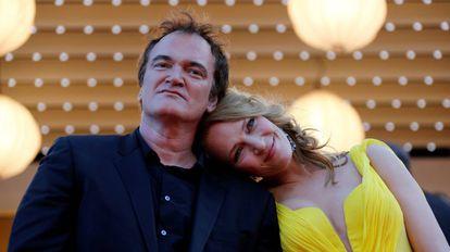 O diretor Quentin Tarantino e a atriz Uma Thurman no Festival de Cannes de 2014, quando o filme 'Pulp Fiction' foi homenageado em seus 20 anos.