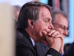 New Delhi (India), 26/01/2020.- Brazilian President Jair Bolsonaro during India-Brazil Business Forum (IBBF) in New Delhi, India, 27 January 2020. President Bolsonaro is on a four-day state state visit to India and was the chief guest for Republic Day celebration 2020. (Brasil, Nueva Delhi) EFE/EPA/RAJAT GUPTA