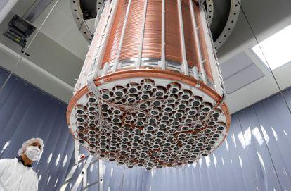 O detector inferior do experimento XENON1T.
