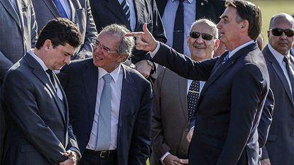 O então ministro da Justiça Sergio Moro, em evento com o presidente Jair Bolsonaro.