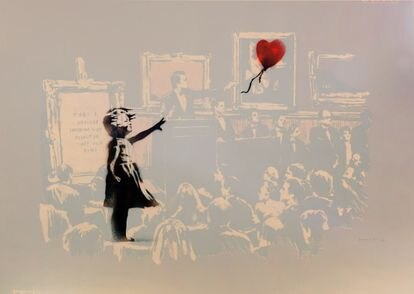 'Girl with Balloon & Morons in Sepia' de Banksy