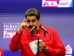 FILE PHOTO: Venezuelan President Nicolas Maduro speaks to the media after voting in the ruling Socialist Party primaries for the November regional elections for governors and mayors, in Caracas, Venezuela August 8, 2021. REUTERS/Leonardo Fernandez Viloria/File Photo