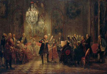 'O concerto de flauta em Sanssouci', de Adolph Menzel (Berlim, Alte Nationalgalerie). Carl Philipp Emanuel Bach toca a chave junto ao rei Federico o Grande, um consumado flautista, na presença de Johann Joachim Quantz y Franz Benda.