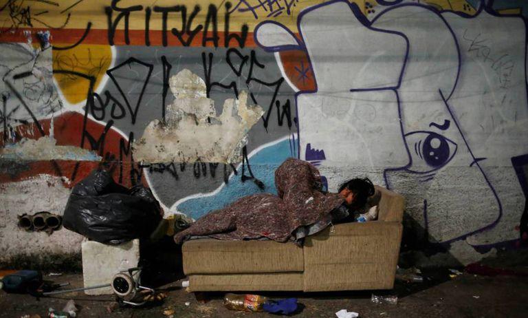 Morador de rua em São Paulo.