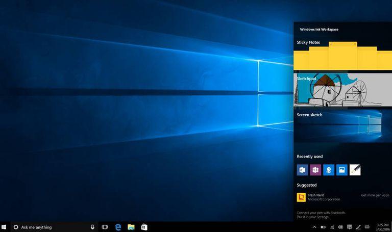 Imagem da função Windows Ink na atualização do Windows 10.
