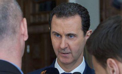 Bashar al-Assad, durante um encontro com jornalistas em Damasco.