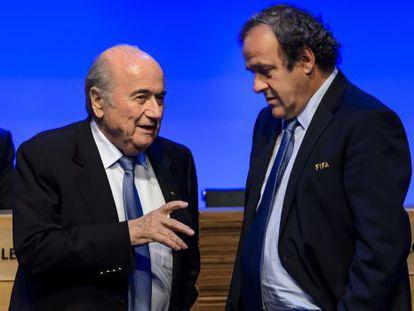 Blatter e Platini em Congresso da FIFA, em 2014.