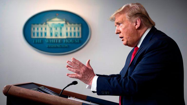 O presidente Donald Trump, na coletiva de imprensa diária que tem conduzido sobre o coronavírus nos EUA.