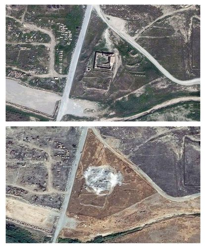 Acima, fotografia de satélite do convento de Santo Elias tirada em março de 2011. Abaixo, imagem da mesma área obtida neste mês de janeiro.