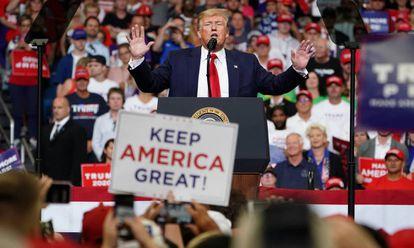 Donald Trump durante a apresentação da sua campanha.