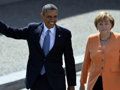 O presidente dos EUA, Barack Obama, e a chanceler alemã, Angela Merkel, em junho de 2013, em Berlim.