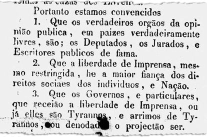 Jornal Astrea faz crítica ao autoritarismo de D. Pedro I sem citar o nome do imperador (imagem: Biblioteca Nacional Digital)