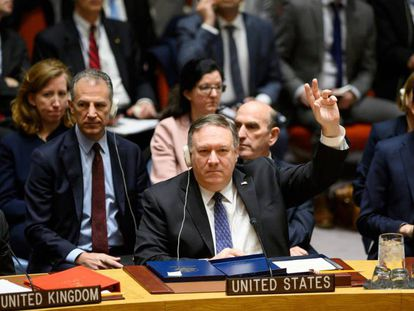 Mike Pompeo, este sábado na sessão do Conselho de Segurança da ONU.