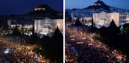 Protestos contra (à direta) e a favor da permanência da Grécia no euro, em Atenas, na segunda e na terça-feira, respectivamente.