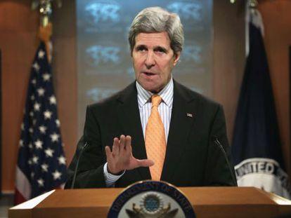O secretário de Estado, John Kerry, durante a coletiva de imprensa.